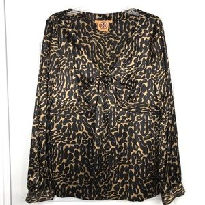 TORY BURCH Leopard Print 100% Silk Blouse W Bow 12
